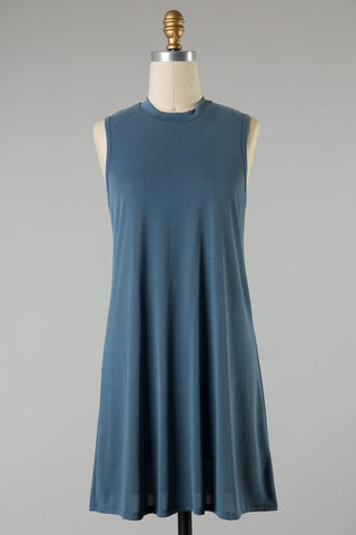 Cozy Solid Knit Dress (Blue/Gray)