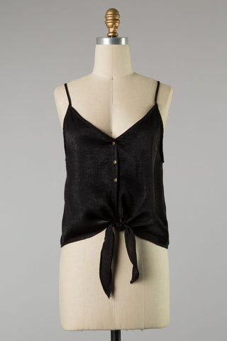 Button Down Tie Tank (Black)