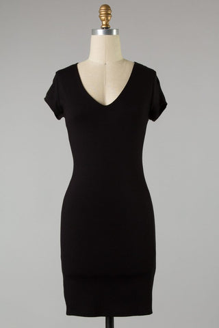 Solid Fitted Knit Dress (Black)