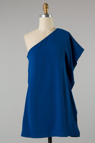 Solid One Shoulder Dress (Royal Blue)
