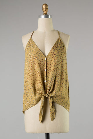 Printed Front Tie Tank Top (Camel)