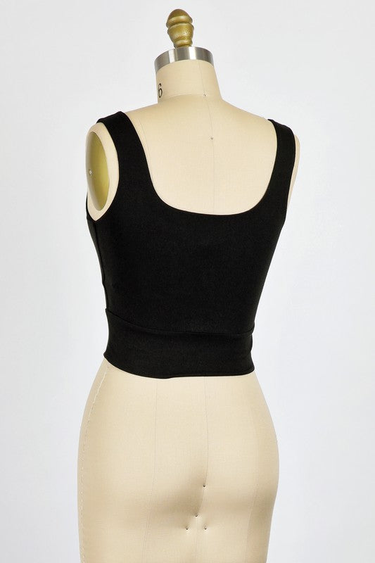 Thick Strap Modal Crop (Black)