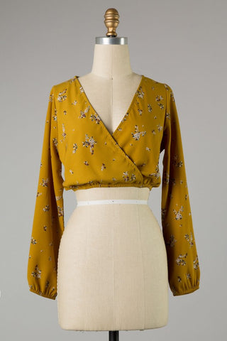 Orion Long Sleeve Floral Top (Mustard)