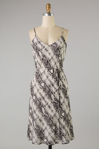 Snake Print Chiffon Dress (Black) ONLINE EXCLUSIVE