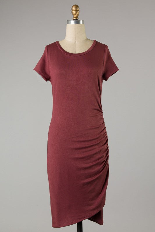 Ruched Side Short Sleeve Dress (Red Brown)