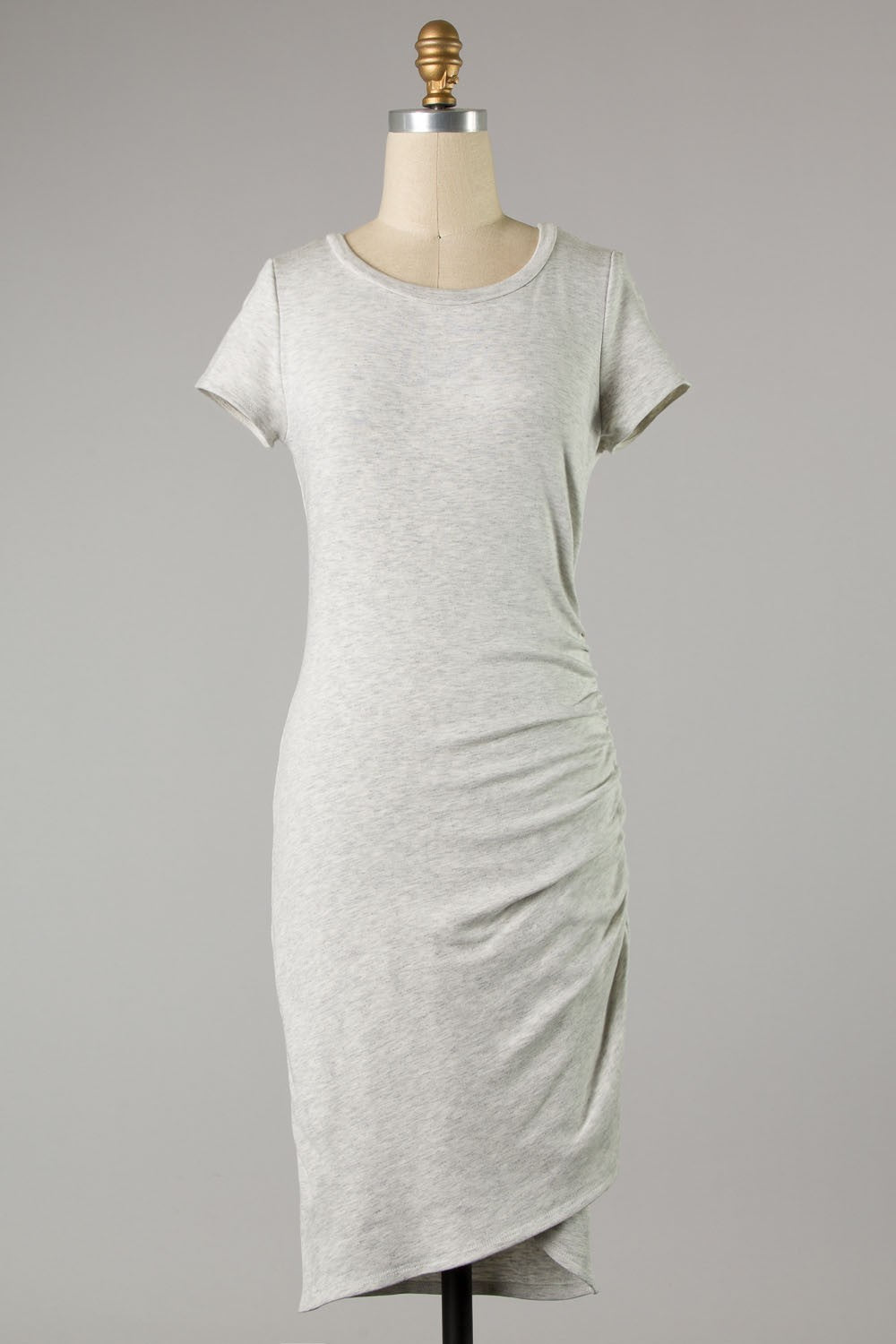 Ruched Side Short Sleeve Dress (Grey)