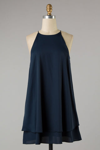 Solid Woven Double Layered Dress (Navy)