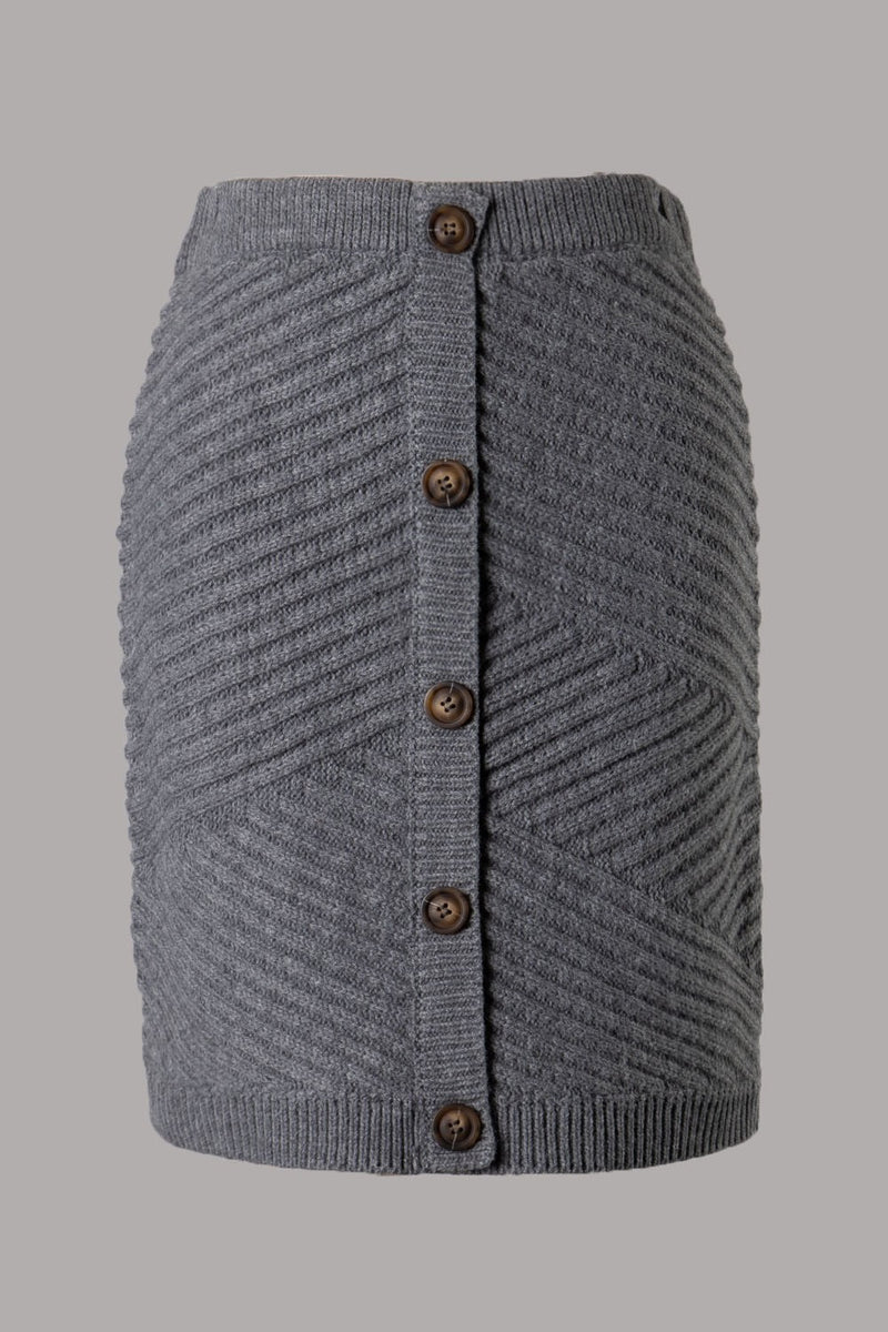 Faux Button Ribbed Knit Skirt (Grey)