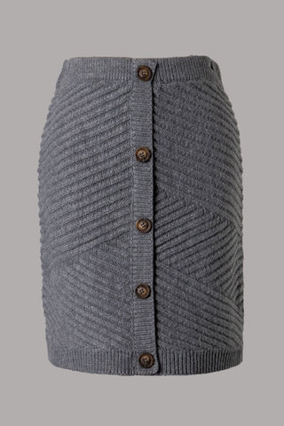 Faux Button Ribbed Knit Skirt (Grey) ONLINE EXCLUSIVE