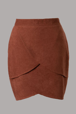 Tulip Layered Suede Skirt (Rust)