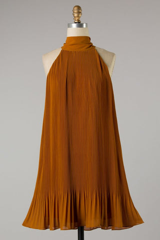 High Neck Pleated Dress (Ginger)