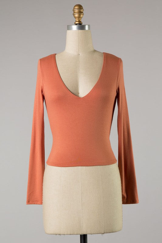 Essential Long Sleeve Crop Top (Terra Cotta)