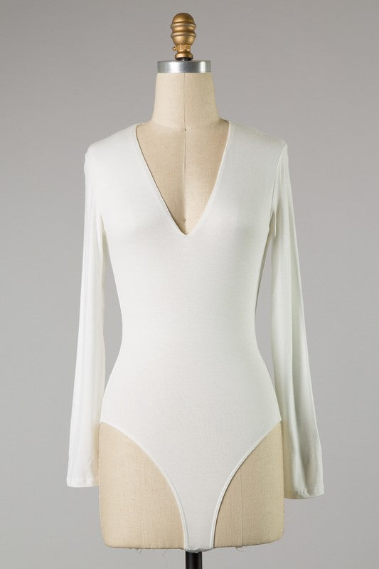 Deep V Long Sleeve Bodysuit (Ivory)