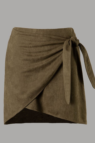 Suede Wrap Skirt (Olive)
