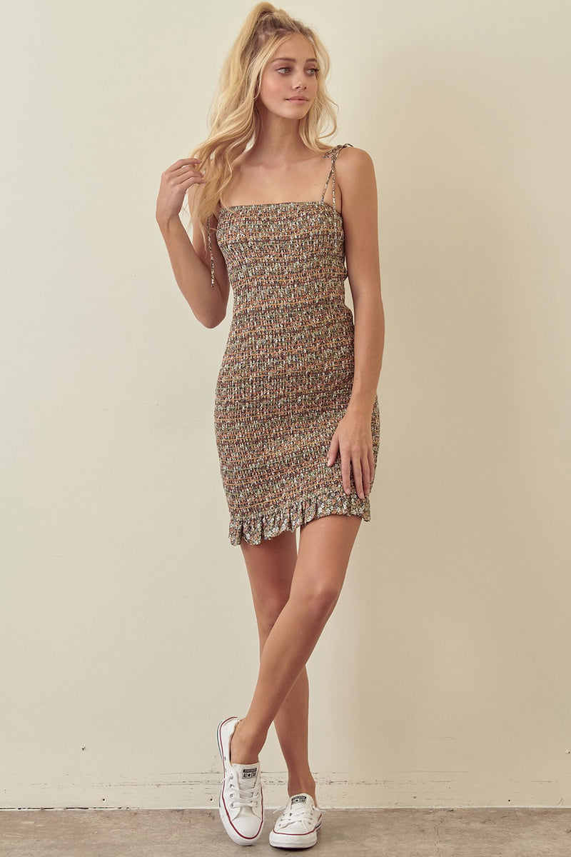 Floral Smocked Bodycon Dress (Brown)