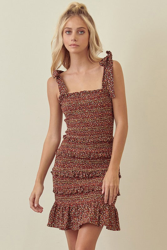 Tie Strap Smocked Dress (Brown)