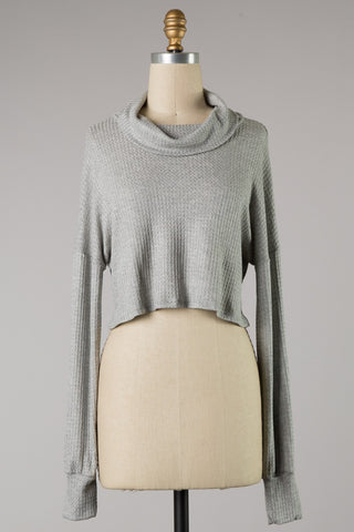 Wide Turtleneck Waffle Top (Grey) ONLINE EXCLUSIVE