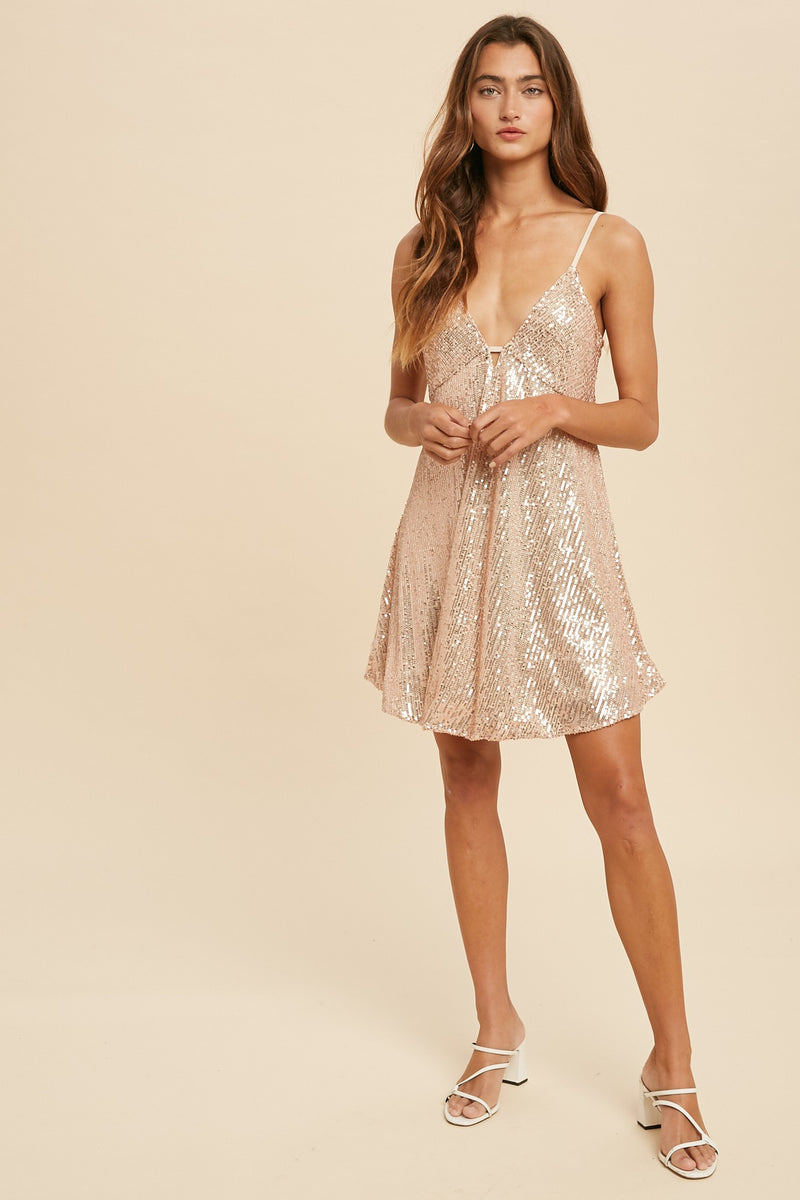 Niki Sequined Mini Babydoll (Champagne)