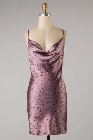 Printed Satin Tank Dress (Dark Mauve) ONLINE EXCLUSIVE