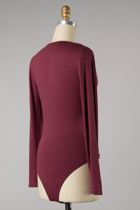Deep V Long Sleeve Bodysuit (Mahogany)