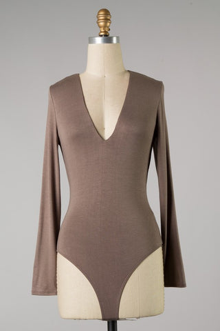 Deep V Long Sleeve Bodysuit (Cocoa) ONLINE EXCLUSIVE