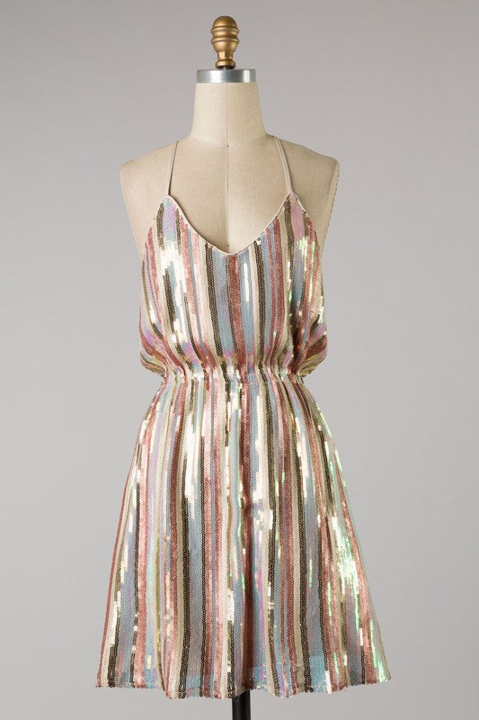 Sequin Striped Party Dress (Blush)