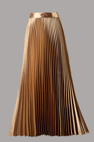 Pleated Maxi Skirt (Gold)
