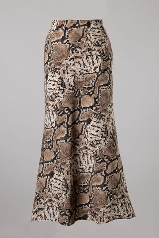 Snake Print Midi Skirt (Brown)