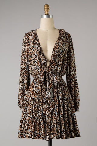 Low Front Tiered Animal Dress (Brown) ONLINE EXCLUSIVE