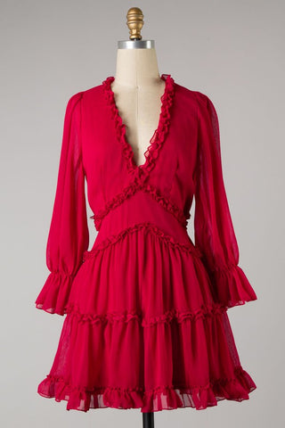 Tiered Woven Ruffle Dress (Red) ONLINE EXCLUSIVE