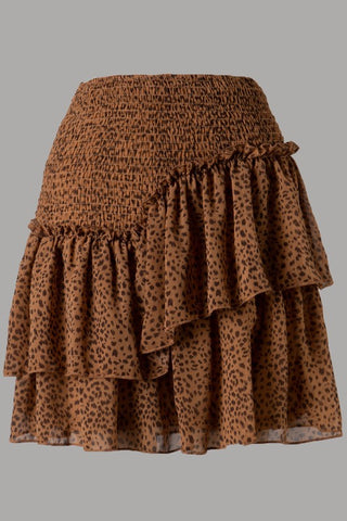Ruffled Animal Smocked Skirt (Brown)