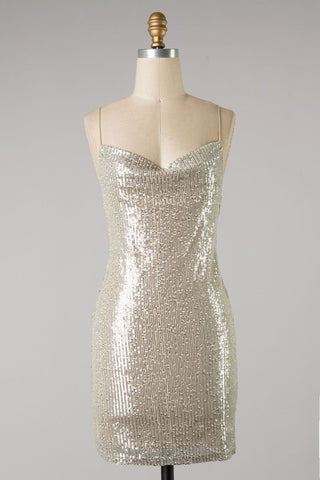 Sequin Cowl Neck Dress (Champagne) ONLINE EXCLUSIVE