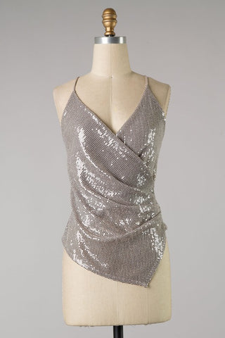 Sequin Ruched Tank Top (Mauve)