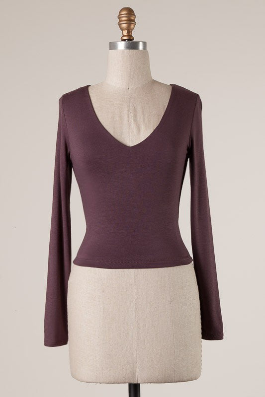 Essential Long Sleeve Crop Top (Mahogany)