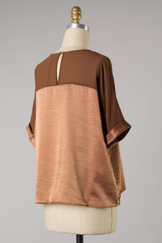 Satin Cuffed Sleeve Top (Mocha)