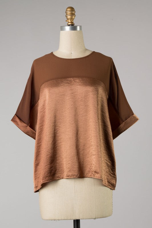 Satin Cuffed Sleeve Top (Mocha) ONLINE EXCLUSIVE