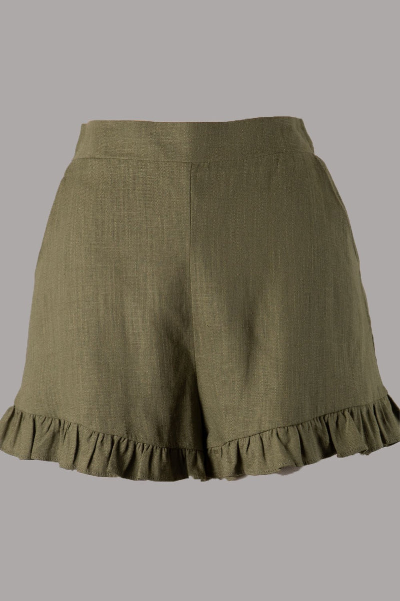 Ruffle Hem Shorts (Olive) ONLINE EXCLUSIVE