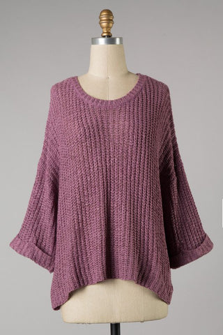 Light Weight Cuffed Sweater (Mauve) ONLINE EXCLUSIVE