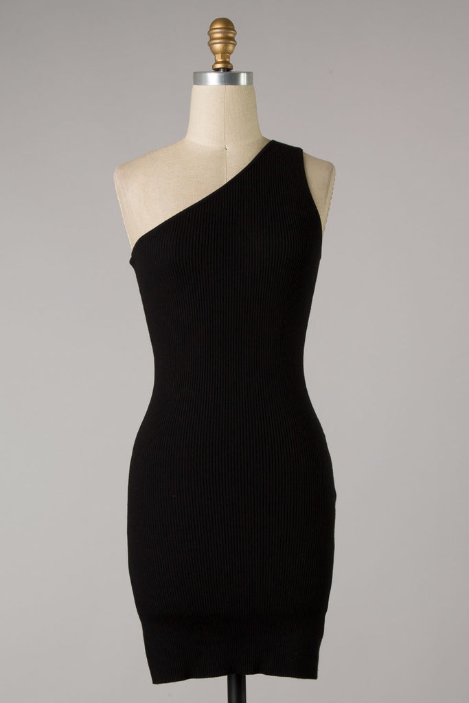 One Shoulder Ribbed Bodycon Dress (Black) ONLINE EXCLUSIVE