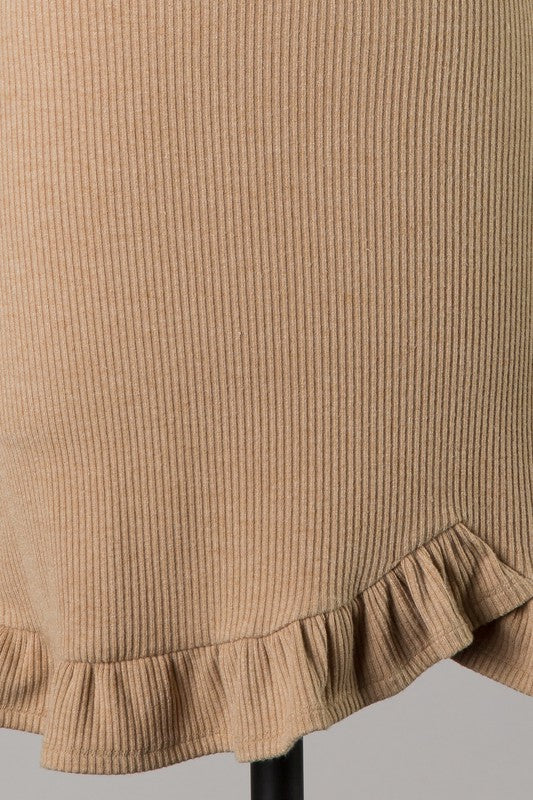 Ruffle Hem Ribbed Dress (Taupe)