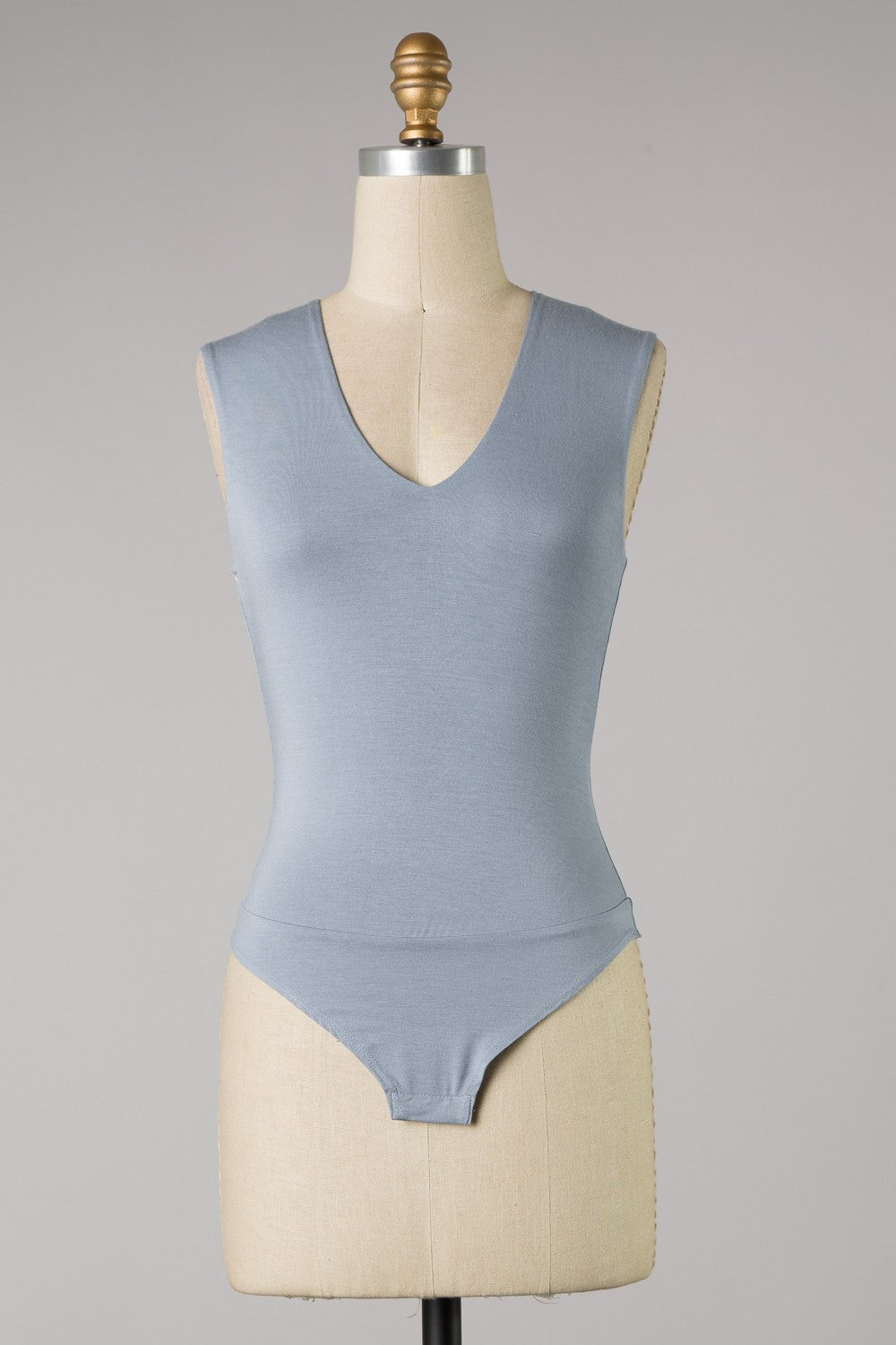 Deep V Sleeveless Bodysuit (Ash Blue)