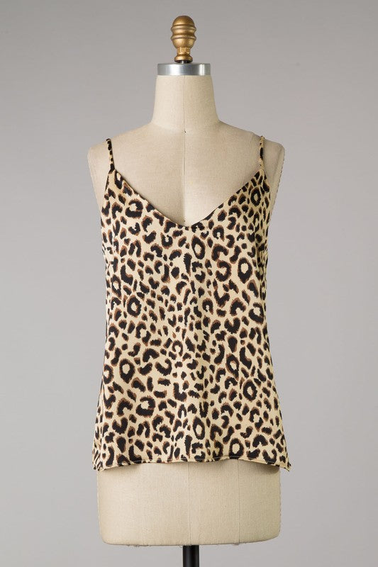 Suzanne Animal Print Tank Top (Beige)