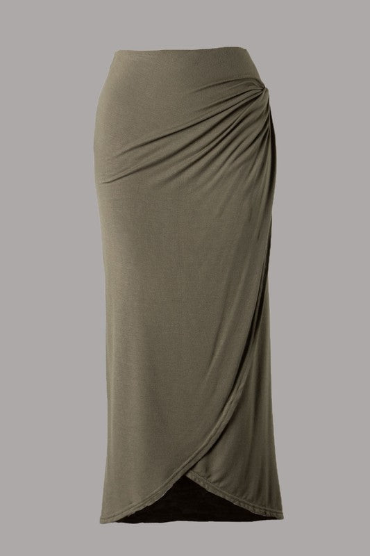 Crossover Wrap Midi Skirt (Olive)