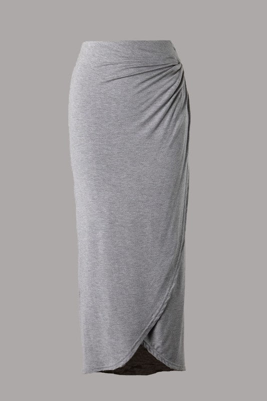 Crossover Wrap Midi Skirt (Grey) ONLINE EXCLUSIVE