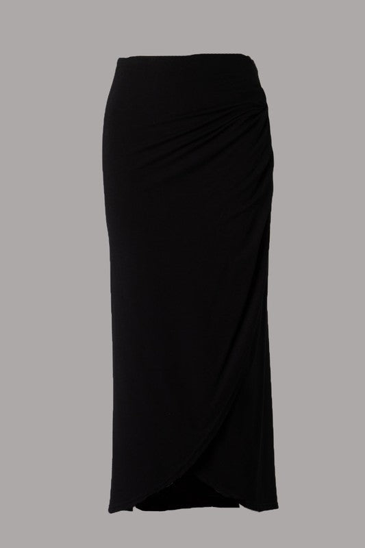 Crossover Wrap Midi Skirt (Black) ONLINE EXCLUSIVE