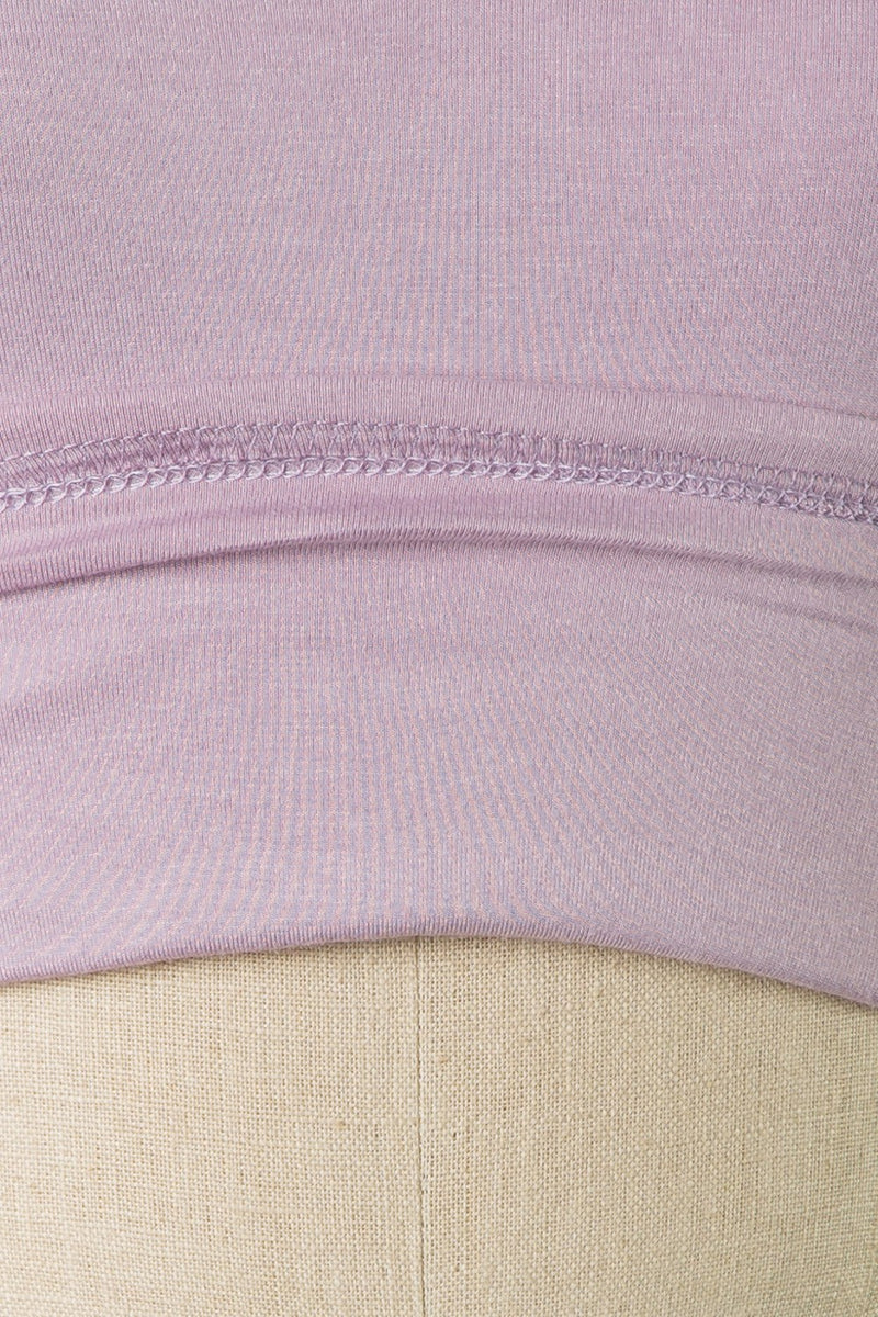 Short Sleeve V Cut Crop Top (Lavender)