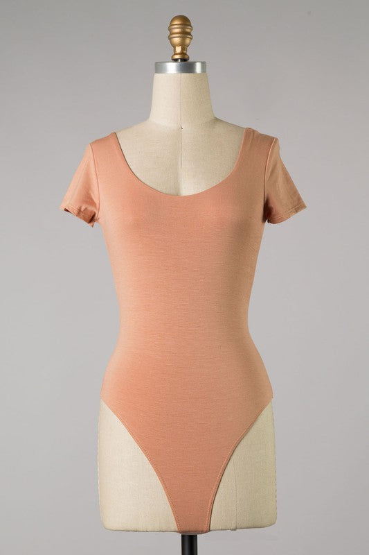 Essential Short Sleeve Bodysuit (Caramel)