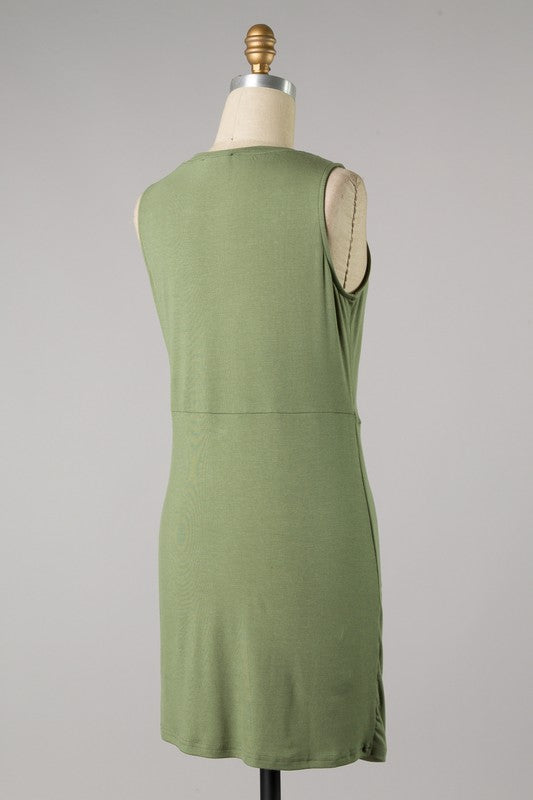 Twist Front Bodycon Dress (Olive)