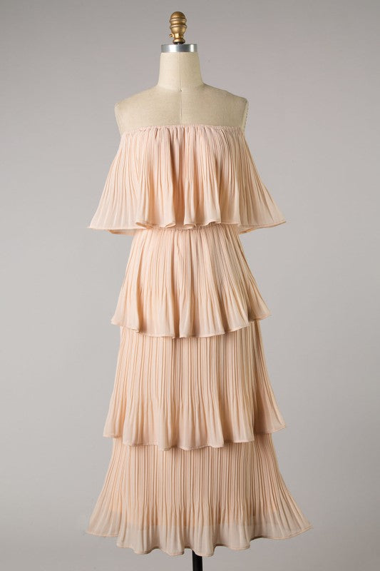 Tiered Ruffle Pleated Midi (Blush)