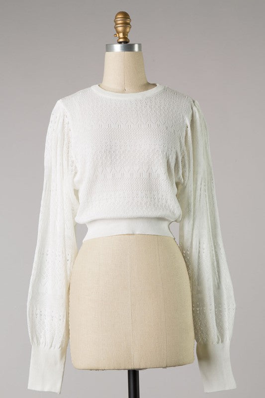 Bubble Sleeve Knit (White)